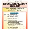 """""""RESPONSABILITA' DA REATO DEGLI ENTI"""" – Venerdi 18 novembre 2016 ore 15:30 – Auditorium Comunale – CASARANO"""