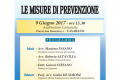 """""""LE MISURE DI PREVENZIONE"""" – venerdì 9 giugno 2017, ore 15:30 – Auditorium Comunale, CASARANO"""