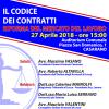 """""""Il Codice dei Contratti – Riforma del Mercato del Lavoro"""" – 27 Aprile 2018, ore 15 – Auditorium Comunale – CASARANO"""